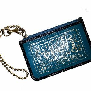 Rare COACH Poppy Teal Gold Slim Zip ID wallet